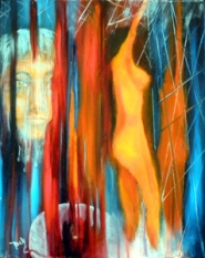 "by: contributed by Becky Hawley In this creative piece entitled ""Escape,"" artist Becky Hawley interprets the exhibit theme (Insanity) with symbolism, with a woman behind bars wearing a veil of tears and a woman on fire beyond the bars."