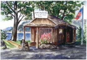 by: Contributed artwork Working from a series of photos of the Bridal Veil post office, Lowe's image of the tiny Bridal Veil postal facility is depicted in the height of spring with sweet peas blooming on the front porch.