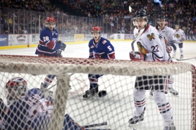 by: Jaime Valdez Nino Niederreiter (right) of the Portland Winterhawks, following his shot in the regular-season finale against Spokane, also has his eyes on a lucrative career in the NHL – but first comes the Hawks' second-round series with Kelowna, starting tonight at the Rose Garden.