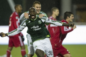 by: JENNIFER HARDIN Mamadou Danso exults after scoring the Portland Timbers' fourth goal Thursday night in a 4-2 victory over the Chicago Fire at Jeld-Wen Field.