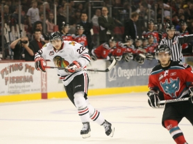 by: BRYAN HEIM Nino Niederreiter skates Friday night in Game 5 of the Portland-Kelowna series at the Rose Garden. Niederreiter tied the score with a second-period goal, but the Winterhawks lost 2-1 in overtime.
