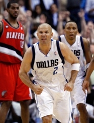 by: RONALD MARTINEZ Dallas' Jason Kidd reacts after sinking a 3-point shot against Portland in their NBA playoff opener Saturday night.
