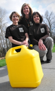 by: VERN UYETAKE Again leading the bucket brigade for Walk4Water4 are co-chairpersons, from left, Mary Austin, Linda Favero and Beth Olen. Hundreds of other walkers will join them April 30.