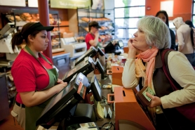 by: CHRISTOPHER ONSTOTT With cash in hand, Cheri Hyde orders lunch at the Hollywood Panera before placing cash in the donation box. This location is one of three nonprofit Panera Cares cafes in the country asking customers to pay what they can afford.