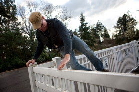 by: CHRISTOPHER ONSTOTT Lew Ervin, a contract bail agent, hops a fence to gain entry to a Vancouver home where he suspects a bail fugitive is hiding out. Ervin can legally enter a residence and apprehend bail skippers without a warrant.