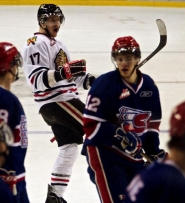 by: JAIME VALDEZ Riley Boychuk of the Portland Winterhawks celebrates a goal against Spokane in their regular-season finale. The teams will meet for the Western Hockey League Western Conference championship, opening a best-of-seven series with games at the Rose Garden at 7 p.m. Friday and 5 p.m. Sunday.