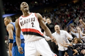 by: CHRIStopher Onstott Blazer guard Wesley Matthews smiles after hitting a 3-pointer against Dallas in Game 3 of their first-round playoff series Thursday at the Rose Garden.