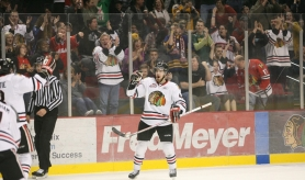 by: BRYAN HEIM Portland Winterhawks defenseman William Wrenn celebrates his goal Sunday against Spokane.
