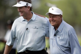 by: MARCO GARCIA Peter Jacobsen (left) and Arnold Palmer have been partners in golfing events for many years, including 17 straight in Portland. Palmer plans to return in August for the new Umpqua Bank Challenge at Portland Golf Club.