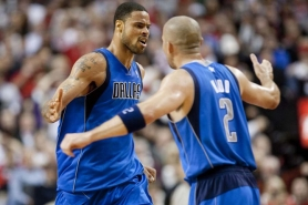 by: CHRISTOpher Onstott Dallas center Tyson Chandler (left) and guard Jason Kidd acknowledge each other after a good play by the Mavericks during Game 6 of their playoff series with Portland.