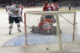 by: JAIME VALDEZ Sven Bartschi scores for the Portland Winterhawks in their 3-2 victory over Spokane on Saturday night at the Rose Garden.