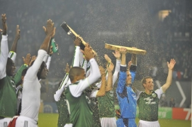 by: JOSH BRYAN The Portland Timbers celebrate their 1-0 victory Saturday night over Real Salt Lake at Jeld-Wen Field.