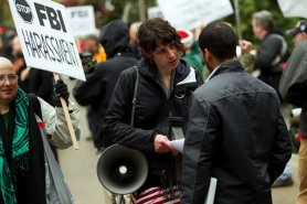 by: CHRISTOPHER ONSTOTT Alaina Melville of the Oregon Progressive Party and others protested at Portland City Hall last week in opposition to rejoining the Joint Terrorism Task Force.