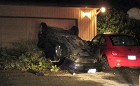 by: Submitted photo The 19-year-old driver and passengers were able to climb out of the vehicle on their own following Thursday's early morning crash.