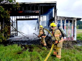 by: Dick Harris It took about 12 minutes for Portland firefighters to control a blaze that damaged a vacant golf driving range Saturday afternoon on Southeast 82nd Avenue.