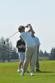by: VERN UYETAKE Lake Oswego's Clayton Madey had the low round on the first day of the district tournament and shot under par on both days of the competition.