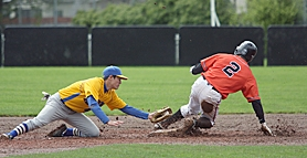 by: Miles Vance MUD SLIDE – Beaverton's Myles Richard slides in with a stolen base ahead of the tag by Aloha's Spencer Maxey during the Beavers and Warriors' rain-delayed contest at Beaverton High School on Saturday.
