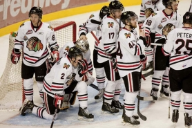by: CHRISTOPHER ONSTOTT The Portland Winterhawks gather by the goal moments after their loss to Kootenay on Friday.