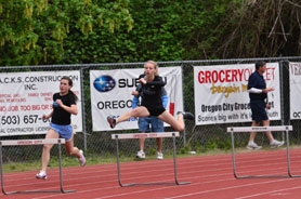 by: VERN UYETAKE Lakeridge's Madi Greenleaf won the 100 and the 300 hurdles at last week's district meet and helped set a school record on the 4x400 relay team.