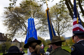by: Jennifer Hardin Names of the 26 fallen Portland police officers hang from a staff during the annual memorial ceremony honoring those who died while on duty.