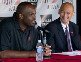 by: SAM FORENCICH Trail Blazer coach Nate McMillan (left) helps introduce Rich Cho as new general manager on July 19, 2010.