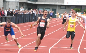 by: John Brewington FASTEST MAN—Scappoose's Adonis Siscoe won the 100 and 200 meter sprints, plus anchored the winning 4x100 relay team at the 4A state track meet.
