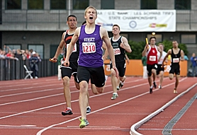 by: Miles Vance STATE STAR — Sunset's Briley Beaton lets out a yell after running the final leg of his team's winning 4 x 400-meter relay on Saturday at the Class 6A state track meet.