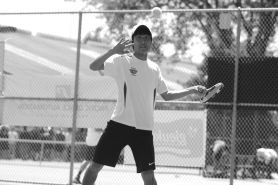 by: MATTHEW SHERMAN Ken Tsuruta, above, and Arthur To were the No. 5 seed in the doubles bracket at the state tennis tournament this year and advanced to the quarterfinals before losing to the No. 4 seed in the tournament.