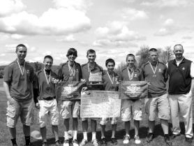 by: SUBMITTED PHOTO Westside Christian High School's boys golf team earned second place in the recent state tournament. The team is from left to right: Kevin Krostag, Jordan Wakem, Tyler Jorgensen, David Ball, Morgan Cho, Mark Stockamp, Matt Hester and coach Roger Allcroft.