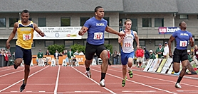 by: Miles Vance FAST 100 — Aloha's Thomas Tyner (center) sails past the finish line in winning the 100-meter dash at the Class 6A state track meet at Hayward Field on Saturday, while teammate Sheldon Prince runs to fourth.