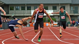 by: DAN BROOD LEAN INTO IT — Sherwood sophomoe Cristian Morris leans at the finish line to get a close victory in the 200.