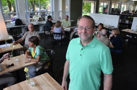 "by: vern uyetake Jim Borovicka, former owner of Blinn's Boathouse, opened Bunkers in April. The restaurant offers a variety of foods as well as ""traditional golf fare."""