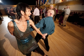 by: CHRISTOPHER ONSTOTT Maureen and Andrew Jamieson do the Cha-cha-cha during a recent dance at the Norse Hall, and the Sesame Dance Club celebrates its 50th anniversary with a big shindig June 3 at Norse Hall.