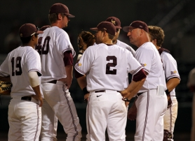 by: COURTESY OF ARKANSAS LITTLE-ROCK Coach Scott Norwood huddles with his Arkansas-Little Rock Trojans.