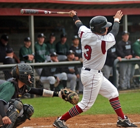 by: DAN BROOD RIVALS – Tualatin senior Kevin O'Connor (3) takes a swing while Tigard senior catcher Trevor Nix gets ready to grab the ball in last week's state playoff game.