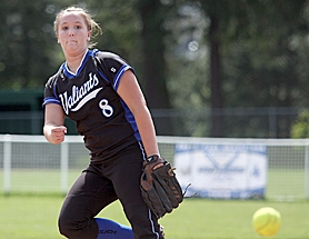 by: Miles Vance SENIOR HURLER – Valley Catholic senior Kindra Mills (shown here in 2010) and her teammates battled into the Class 3A state quarterfinals before falling to unbeaten Glide on Friday.