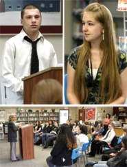 by: Jim Clark Ethan Wilson, top left, and Jessica Willis, top right, talk about how ECMC has inspired him to go to college next year. Lower photo: Susan Castillo, Oregon superintendent of schools, praises the students participating in ECMC at Centennial Learning Center, on June 2.