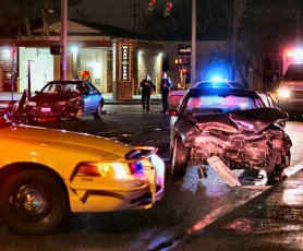 by: David F. Ashton The impact of the collision was sufficient to fling one of the vehicles a half-block south of the intersection.