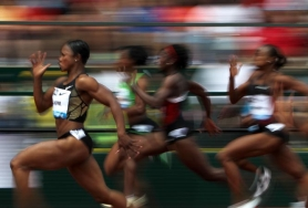 by: JONATHAN FERREY Carmelita Jeter speeds to the 100-meter title in the Prefontaine Classic at Hayward Field on Saturday.