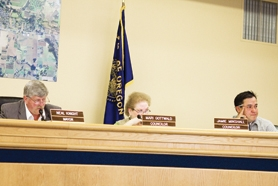 by: Chase Allgood Mayor Neal Knight (left) and councilors Mari Gottwald (center) and Jamie Minshall have spent a rocky six months in office, with even more challenges ahead. On Monday, the three voted to fire the city's manager without cause.
