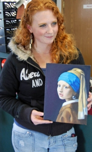 "by: Tyler Graf IN THE LIMELIGHT – Rainier artist Jenee Epping's works include versions of paintings by the masters, like Johannes Vermeer's ""Girl with a Pearl Earring."""