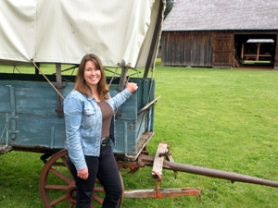 by: Jim Hart At Eagle Creek's Philip Foster Farm, newly appointed Clackamas County Commissioner Jamie Damon stands beside one of the original covered wagons that traveled the Barlow Road in the 1860s. Damon is president of the board of directors for the farm, which will have plenty of special family activities Father's Day, Sunday, June 19.