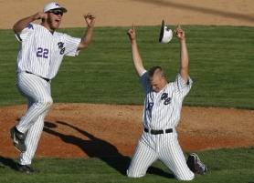 by: JAIME VALDEZ CELEBRATION — Horizon Christian High School junior Josh Holmes (left) and sophomore Willie Brucker begin to rejoice following the final out of the Hawks' 7-2 win over Bandon in the Class 3A state title game.