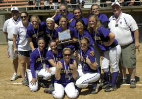 by: DAN BROOD TROPHY TIME — The Horizon Christian High School softball players and coaches gather with the second-place trophy following Friday's Class 3A state championship game. The Hawks lost 5-2 to Glide.