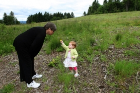 by: Jaime Valdez Lois Rutkin and granddaughter Claire, 2, explore the site of the future Art Rutkin school, which will be dedicated on Friday.