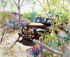 by: Contributed artwork The 'Old Truck, Spring Cactus - Las Cruces' watercolor by Kathy Allegri, who will be showing her painting at the St. Henry 'Wine and Stroll' on Saturday, June 25.