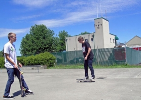 by: Tyler Graf THRASHERS — Cody Arnett, 16, and friend Robert Anderson, 16, hit up the Scappoose Skate Park on one of the few sunny spring days.