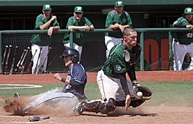 by: Miles Vance SERIES STAR — Southridge catcher Jake Azevedo makes a play for the North on Sunday during his team's three-game sweep in the Oregon All-Star Series.