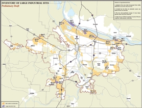 by: Map courtesy of Metro Metro produced this map of large 50-acre industrial sites (shown in blue), the state maintains similar inventories of lands used to recruit employers. Under a new working group, the hope is to expand the metro-area's understanding of the challenges and opportunities related to developing industrial land in the region.
