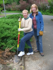 by: cliff newell Sally Weersing and Cindy Ellison are ready for action at Lake Oswego United Church of Christ now that the church has received a $12,000 Metro grant for its stormwater management project.